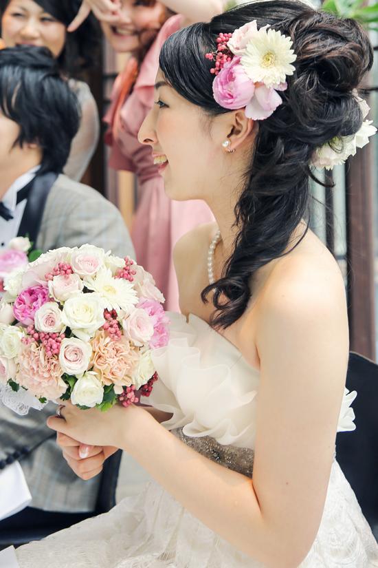 花嫁 生花 ヘアスタイル