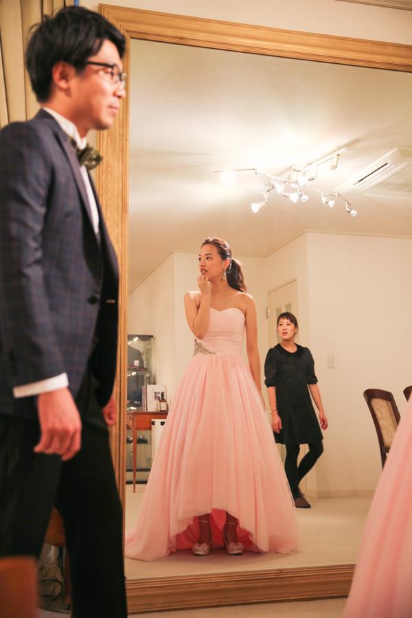 ペールピンク ドレス レンタル