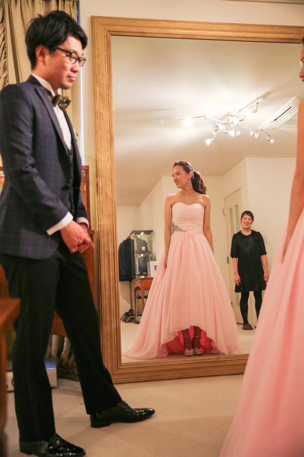 ピンク カラードレス オシャレ