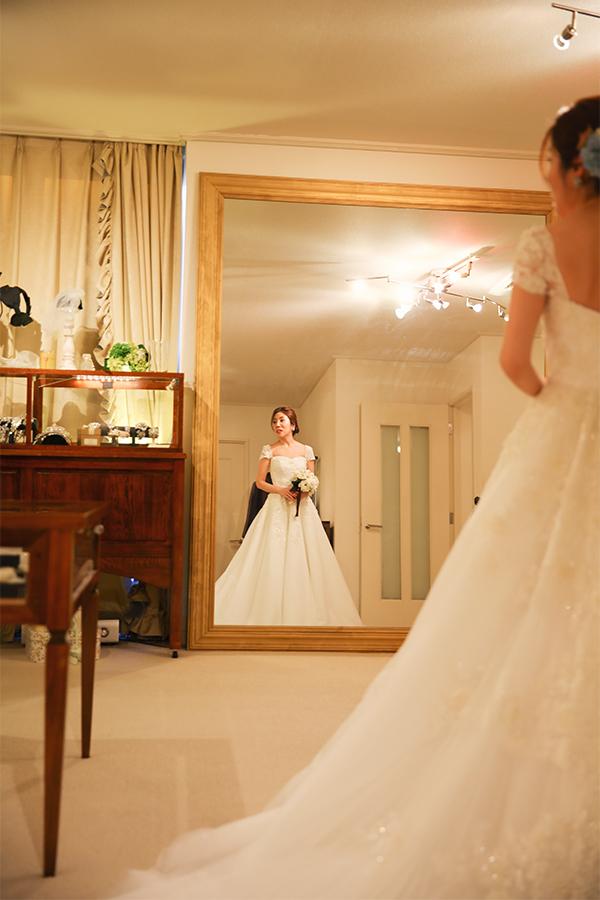 フレンチスリーブ ウェディングドレス