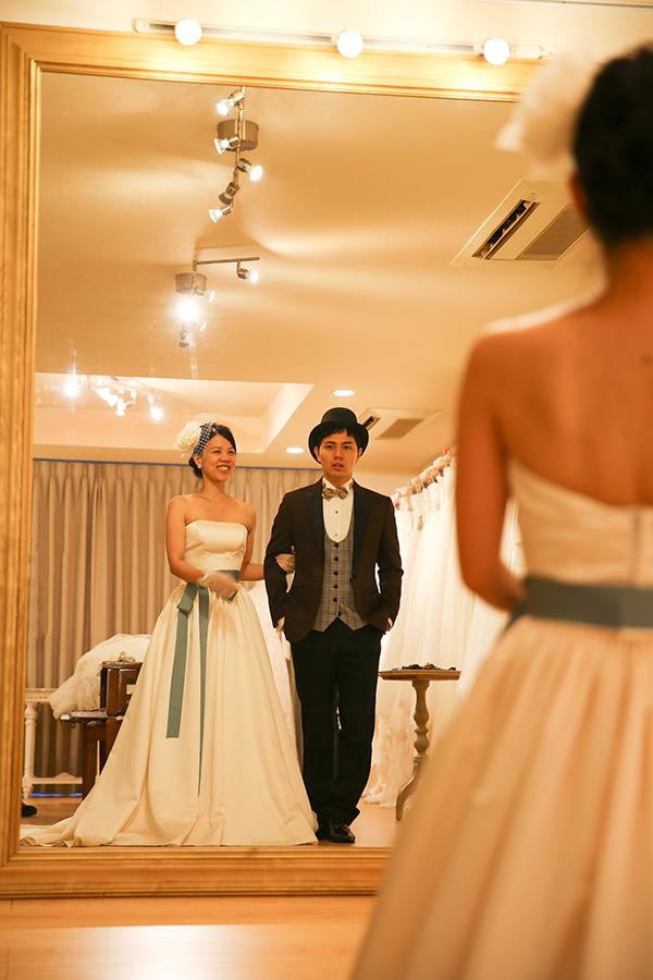 サッシュベルト アレンジ ウェディングドレス ナチュラルグリーン